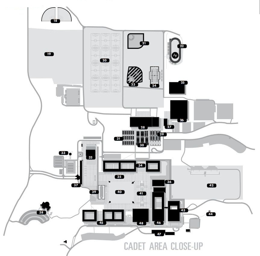 The United States Air Force Academy Map And Building Index - Air force academy map
